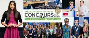 Concours d'art oratoire banner from Canadian Parents for French (BC)