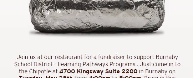 On Tuesday, May 28th from 4:00 – 8:00 the Burnaby School District with be hosting a fundraiser at Chipotle Metrotown to raise funds for our Learning Pathways Programs. Each year, […]
