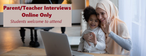 Mother in hijab with child in a video meeting on a laptop
