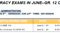 Grade 12 students who need to write the Numeracy exam to graduate WILL write the exam in June. The Ministry of Education is offering the exam from June 8-10, though […]
